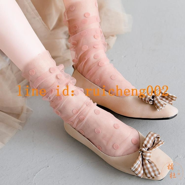 2雙裝 蕾絲長襪女中筒襪夏季薄款網紗透明水晶堆堆襪花邊【橘社小鎮】