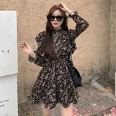 碎花洋裝碎花長袖連身裙2021年春季新款名媛氣質修身中長款a字短裙子女裝 芊墨 新品