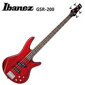 ★IBANEZ★GSR-200TR嚴選玫瑰木指板電貝斯~加送琴套/背帶/導線/PICK(透明紅)