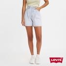 Levis 女款 Ribcage復古超高腰打摺牛仔短褲 / 精工輕藍染水洗 / 天絲棉