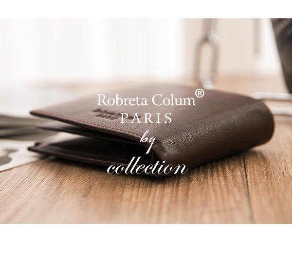Roberta Colum - 魅力無限牛皮款12卡2照可拆式有內拉鍊短夾-深咖