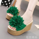 拖鞋女夏時尚性感花朵韓版鬆糕厚底楔形外穿防滑厚底超高跟一字沙灘拖 可然精品