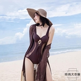 比基尼泳衣女性感連體小胸聚攏遮肚顯瘦韓國溫泉泳裝【時尚大衣櫥】