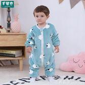 兒童睡袋 寶寶睡袋加絨加厚雙層秋冬季嬰兒童法蘭絨連體睡衣爬服防踢被 米蘭街頭