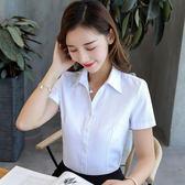 襯衫 衣韓棉粉色襯衫細斜條紋長袖職業V領修身短袖藍 白工作服正裝
