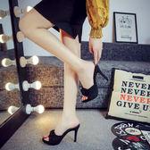 新款高跟涼拖鞋夏季時尚蝴蝶結一字拖女士防水台細跟涼鞋女鞋 薔薇時尚
