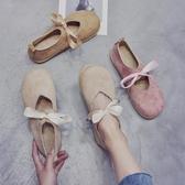 店長推薦 春夏季日系軟妹圓頭洛麗塔淺口單鞋森女系蝴蝶結平底大頭娃娃鞋子