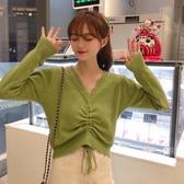 針織衫網紅套頭針織衫女秋季新款韓版修身V領抽繩百搭毛衣短款上衣促銷好物