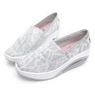 PLAYBOY 蕾絲亮蔥增高休閒鞋-白(Y5719)