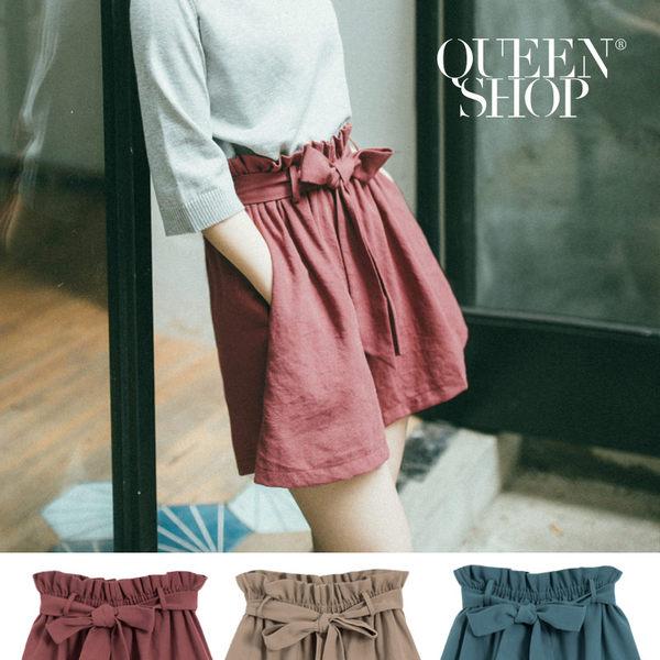 Queen Shop【04060276】縮腰綁帶造型棉麻褲裙 三色售*預購*