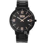 【台南 時代鐘錶 Naturally JOJO】紐約潮流 簡約數字品味時尚腕錶 JO96956-88F 玫瑰金/黑 41mm