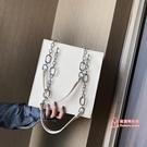 托特包 高級感包女包2020春季新款時尚洋氣百搭ins鍊條大容量托特包 5色