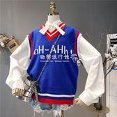 學院風V領針織馬甲韓版寬鬆百搭毛衣背心女外穿上衣  歐韓流行館