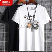 春夏季100%純棉時尚休閒男式短袖韓版t恤男半袖