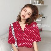 polo衫 夏季新款紅色波點短袖襯衫上衣韓版POLO防曬女式港味學生上衣·夏茉生活