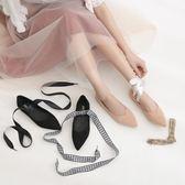 尖頭涼鞋 平底舒適絨面甜美芭蕾單鞋蝴蝶結綁帶瑪麗珍兩穿仙女涼鞋 coco衣巷