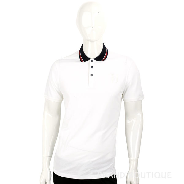 TRUSSARDI 白色拼接黑領條紋細節短袖POLO衫 1620457-20