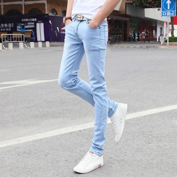 牛仔褲 夏季新款百搭時尚英倫男士褲子韓版修身彈力小腳牛仔褲長褲潮【快速出貨八折搶購】