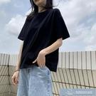 純棉夏裝短袖t恤女黑色寬松顯瘦半袖大碼韓版 微愛家居生活館