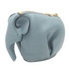 LOEWE 羅威 灰藍色牛皮小象零錢包 Elephant Coin Purse【二手名牌BRAND OFF】