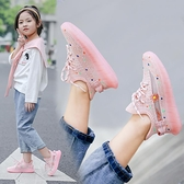 女童椰子鞋2020新款夏季網面透氣單網鞋兒童運動鞋時尚網紅童鞋夏【美眉新品】