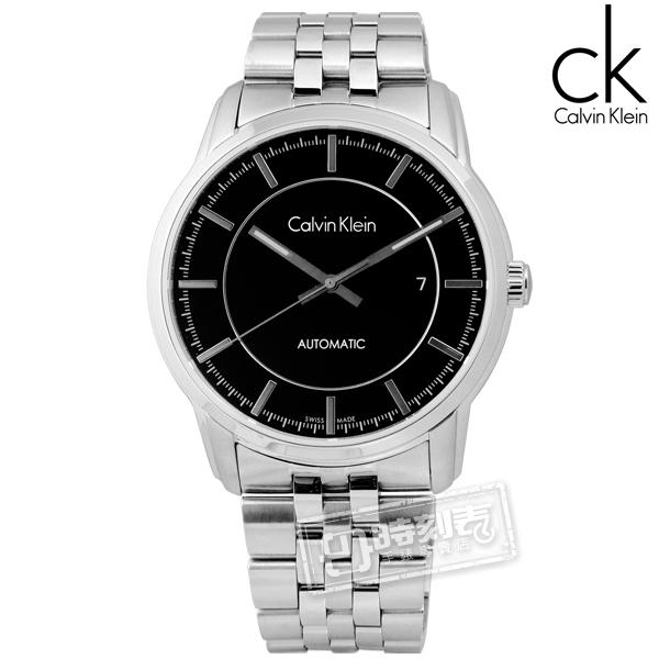 CK / K5S34141 / Infinite卓越自信質感不鏽鋼機械腕錶 黑色 42mm