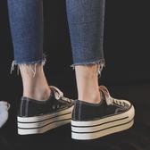 鞋子女2020年新款正韓春季潮鞋百搭鬆糕厚底帆布鞋女內增高小黑鞋