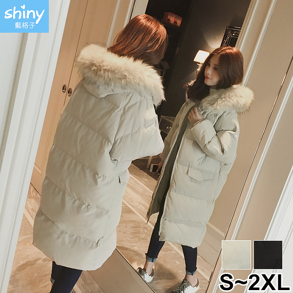 【V3013】shiny藍格子-冷冬陪伴.毛毛領中長版連帽鋪棉羽絨外套