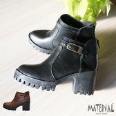 短靴 側方扣厚底短靴 MA女鞋 T3187