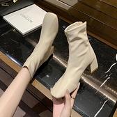 裸靴 靴子女短靴2021秋季新款韓版ulzzang百搭粗跟方頭裸靴瘦瘦靴女鞋 霓裳細軟