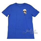 茱麗葉精品【全新現貨】KARL LAGERFELD 卡爾 老佛爺公仔印花造型棉質短T恤.藍