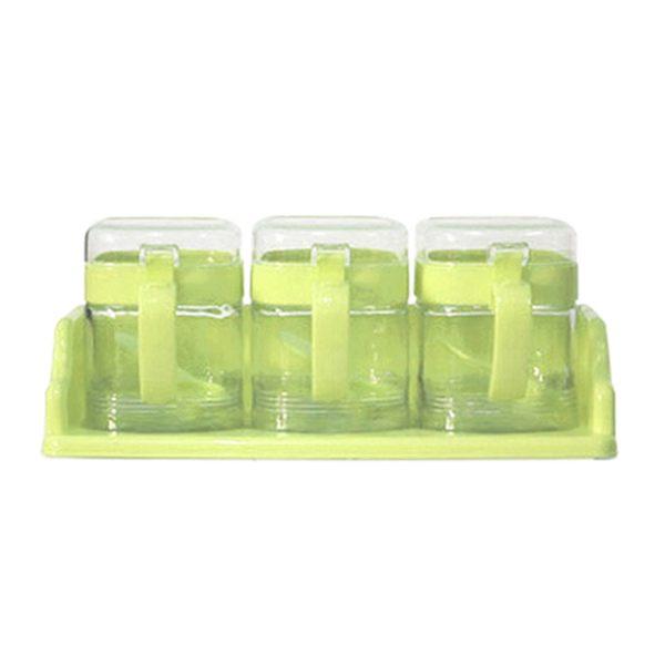 Artist 玻璃方型座式收納400ml調味罐3入組-粉綠色(MF0332G)
