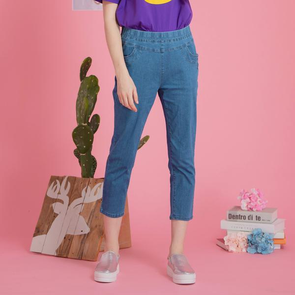 【中大尺碼】MIT個性繡花牛仔七分褲