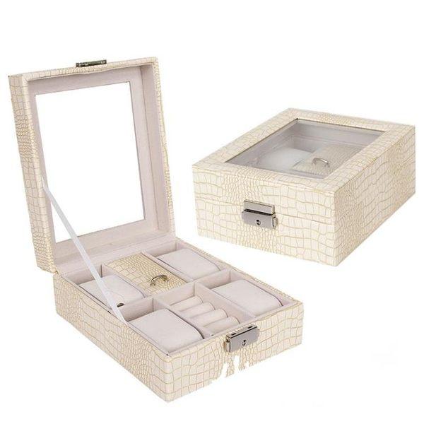 首飾盒 手表盒子戒指手飾收納盒透明玻璃展示帶鎖節日禮物送禮