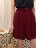 西裝短褲春夏季2020新款韓版a字休閒熱褲高腰顯瘦闊腿西裝短褲女設計感ins JUST M