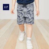 【今日爆殺限時免運 單品下殺$299】Gap男嬰幼童 時尚鬆緊腰抽繩休閒短褲 442467-藍灰色