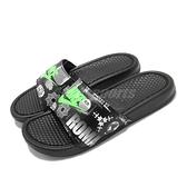 Nike 涼拖鞋 Benassi JDI Print 黑 綠 男鞋 女鞋 文字圖騰 東京 涼鞋 【ACS】 631261-042