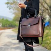 促銷復古女包時尚手提包女士電腦包公文包文藝側背文件包出差公事包LX 宜室