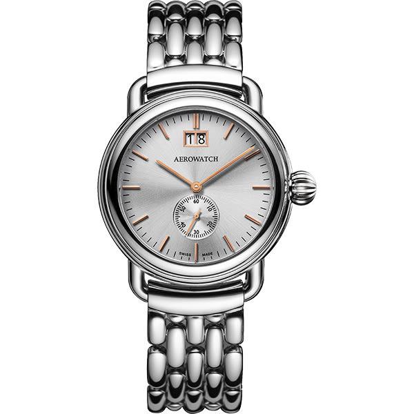 AEROWATCH 1942系列大視窗小秒針腕錶-銀/40mm A41900AA03M