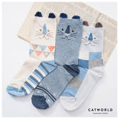 Catworld 日系貓咪幾何色塊棉質長襪【18900102】‧F