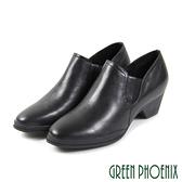 U24-20F03 女款全真皮粗中跟踝靴 極簡素面V型彈性鬆緊全真皮粗中跟踝靴【GREEN PHOENIX】
