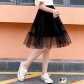 女童夏裝裙子2020新款夏天兒童網紗蓬蓬公主短裙中大童洋氣半身裙 KP1508【花貓女王】