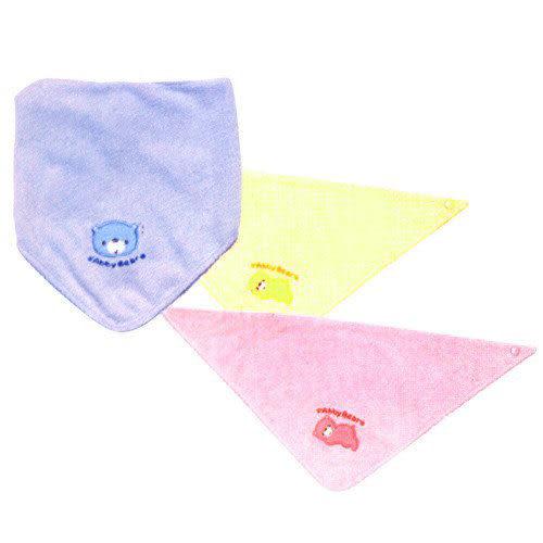 【奇買親子購物網】艾比熊抗菌防臭三角型圍兜(水藍/粉紅/黃色)