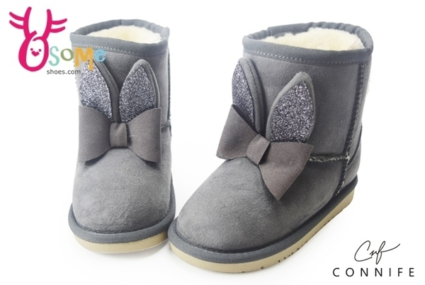 女童雪靴 小童靴 兔兔球球造型 CONNIFE保暖鋪毛短筒靴M8045#灰色◆OSOME奧森鞋業