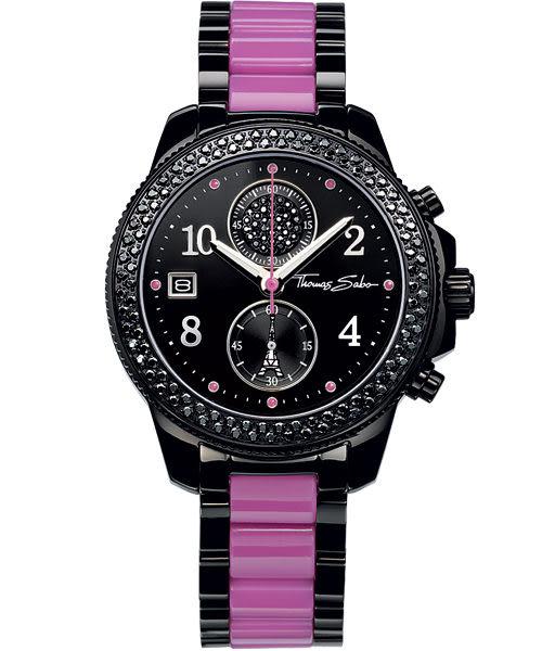 Thomas Sabo It Girl 艾菲爾鐵塔計時玻麗腕錶-黑x紫/38mm WA0128