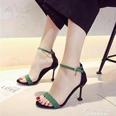 貓跟涼鞋女2020新款露趾網紅同款細跟百搭一字帶仙女風黑色高跟鞋 黛尼時尚精品
