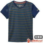 Wildland 荒野 0A61661-72深藍色 中童涼感圓領條紋上衣 抗UV/輕柔透氣/吸濕快乾/休閒上衣/親子裝*