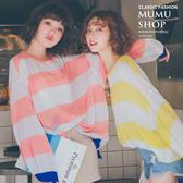 MUMU【T38058】OVERSIZE寬鬆撞色條紋薄針織上衣。兩色