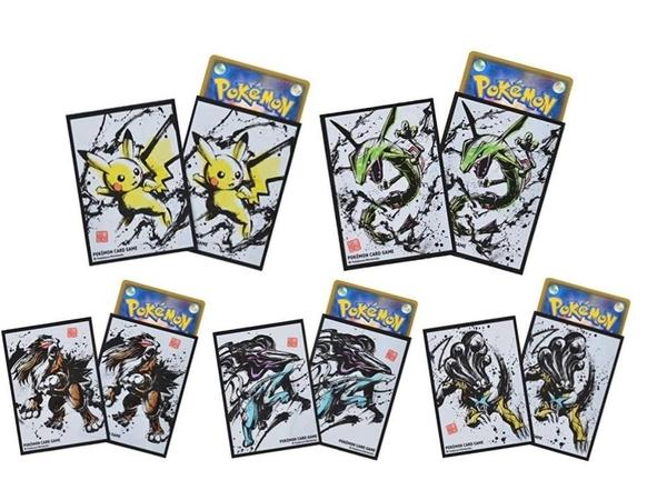 日本 【最新款】Pokemon PTCG 墨繪列傳 官方卡套 64枚 列空座 皮卡丘 三聖獸 莉莉艾 【小福部屋】
