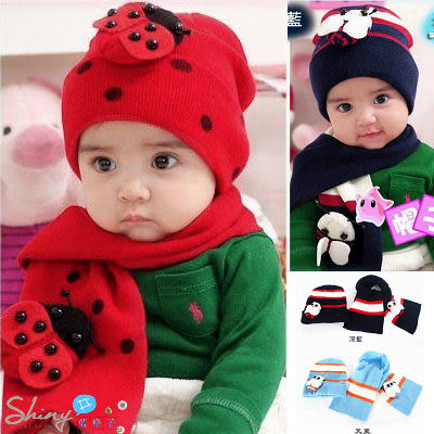 【WZ500】shiny藍格子-兒童寶寶瓢蟲/蜜蜂毛線帽+圍巾兩件套